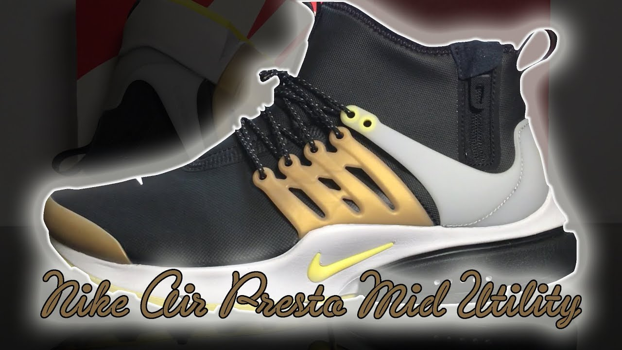 outlet store 44a8b ca218 Nike Air Presto Mid Utility Black  Yellow Streak  Unboxing, Close Up Look   On Feet Review