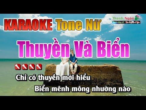 Thuyền Và Biển Karaoke || Tone Nữ - Nhạc Sống Thanh Ngân