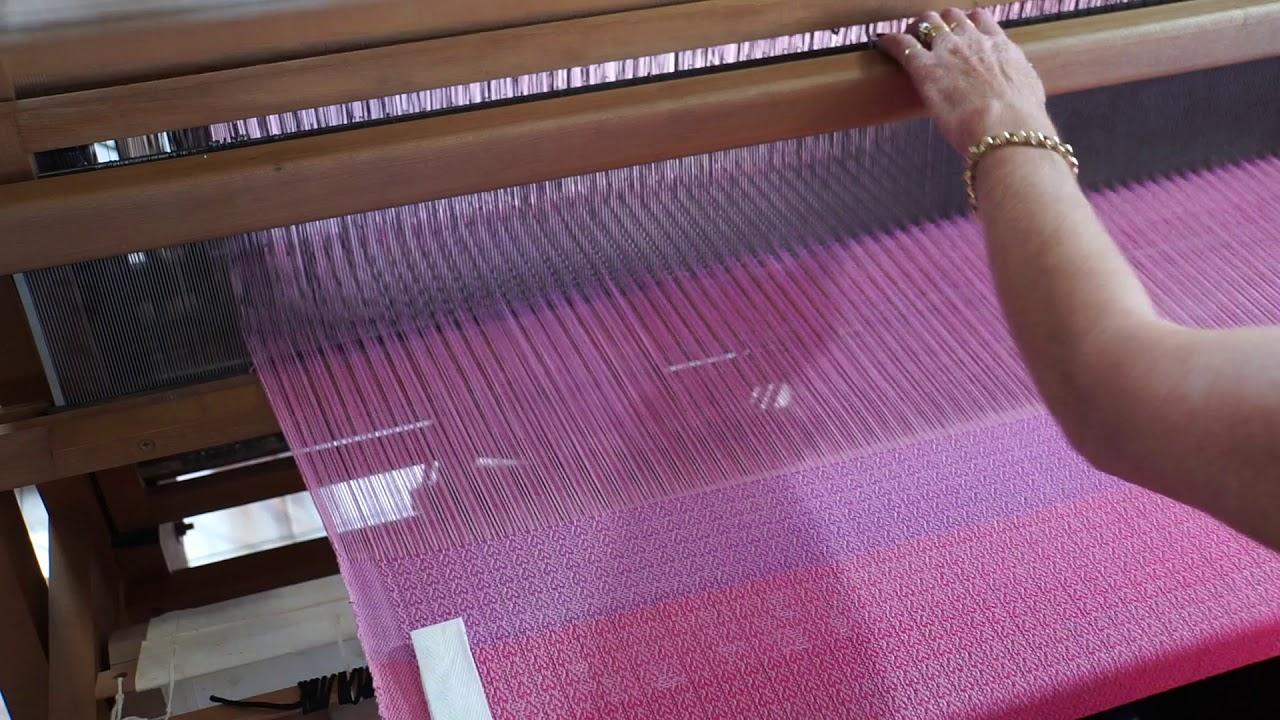 Older Ashford Jack Floor Loom- Weaving a baby blanket