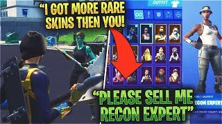 Kid SHOWS OFF Son RARE Fortnite Skins Then I Show My RECON EXPERT...
