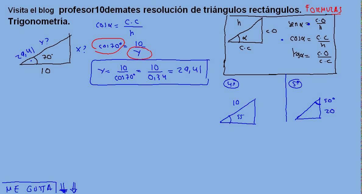 Resolución de triángulos rectángulos , trigonometría 03