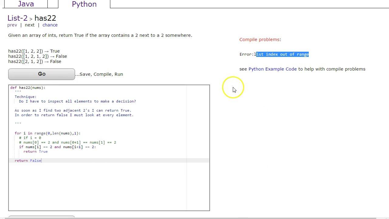 CodingBat - has22 (Python - Lists2)