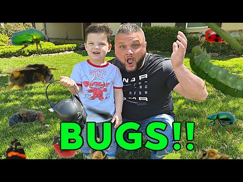 Caleb & Daddy PLAY Bug Hunt And Find REAL BUGS OUTSIDE! Mystery Bug Catching In The Backyard