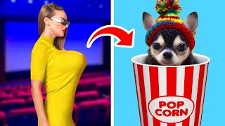 HOW TO SNEAK PETS INTO THE MOVIES! || Sneaking Food And School Supplies by 123 Go! Genius