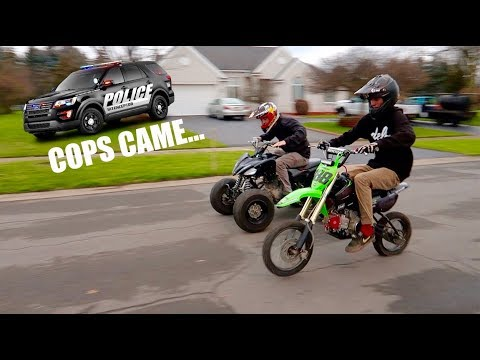 PIT BIKE VS DRIFT QUAD RACE!!! POLICE COME...