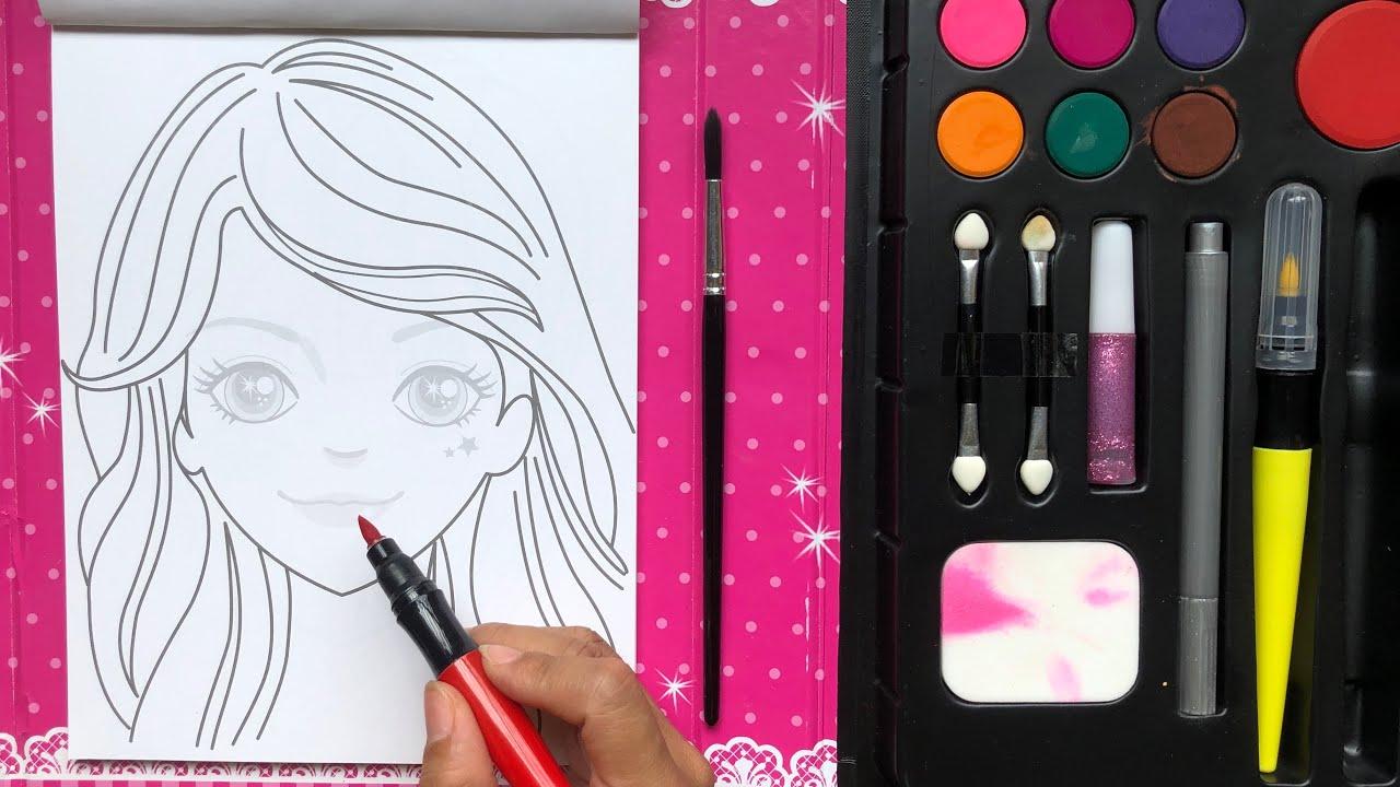 Đồ chơi SÁCH TRANG ĐIỂM BÚP BÊ HÀN QUỐC P2 tô son, kẻ mắt, làm móng - Makeup toys (Chim xinh)