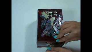 Jewelry Music Box.. Korean mother of pearl inlay lacquered..Red Peacock design