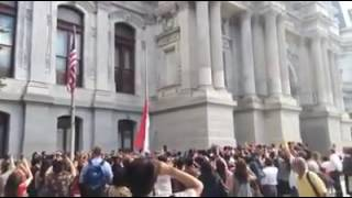 upacara bendera di amerika city Philadelphia lagu indonesia raya
