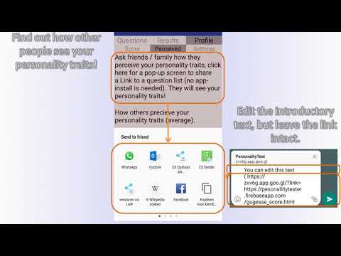 One-click Personality test (Beta-version) - التطبيقات على