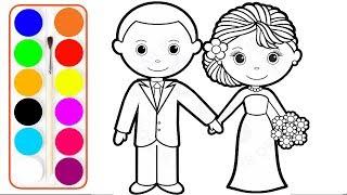 رسم عريس وعروسة مع تلوين ; تعليم الوان Wedding Bride and Groom أحمر أزرق برتقالي