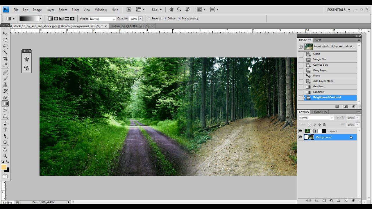Tutorial Photoshop Cara Mudah Menggabungkan 2 Foto Dengan Gradient Tool Youtube