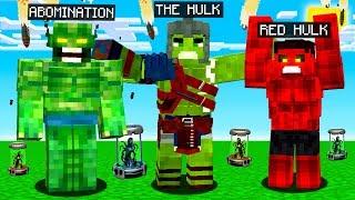 HULK vs ABOMINATION vs RED HULK MINECRAFT BATTLE!