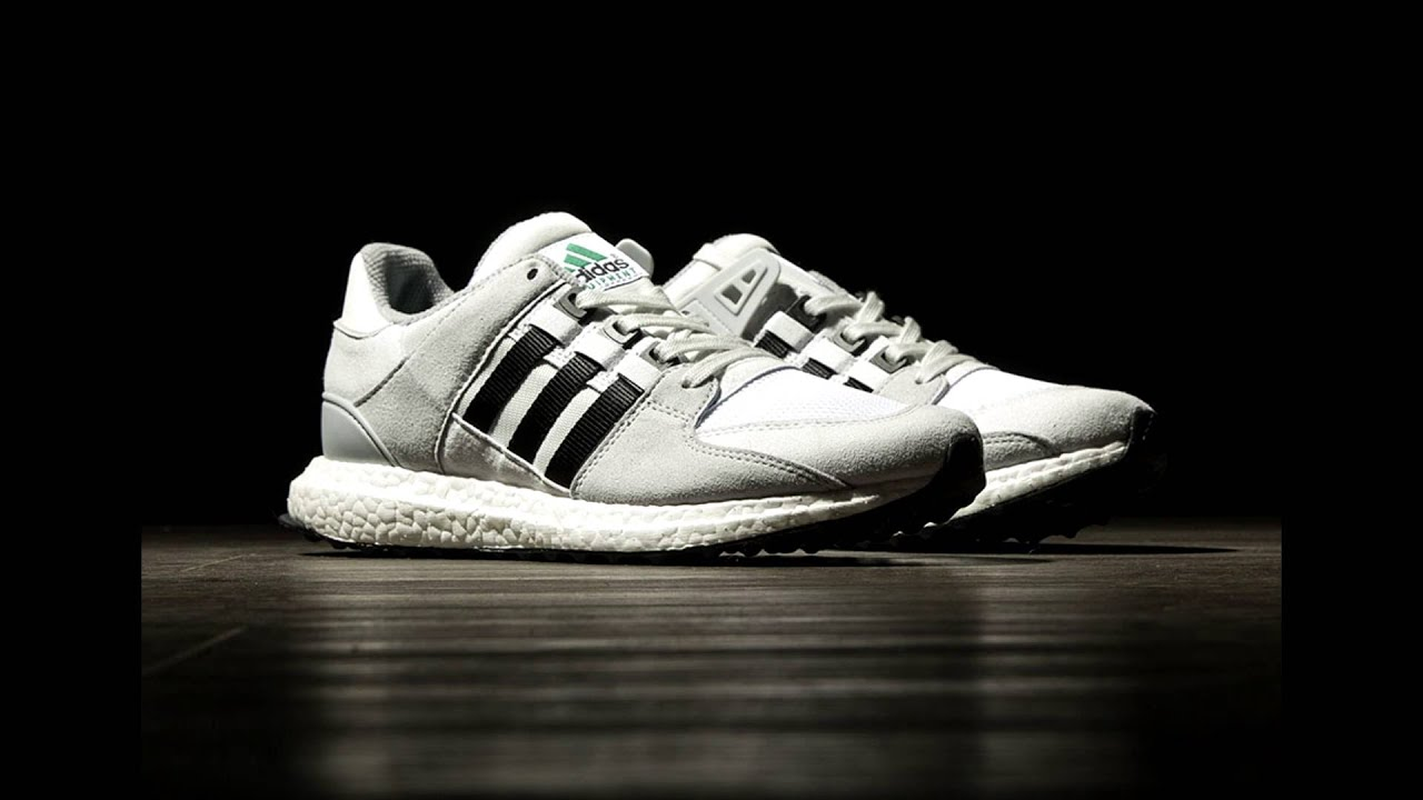 33e202bb9892a Adidas EQT Support  93 16 Boost Black White Green - YouTube