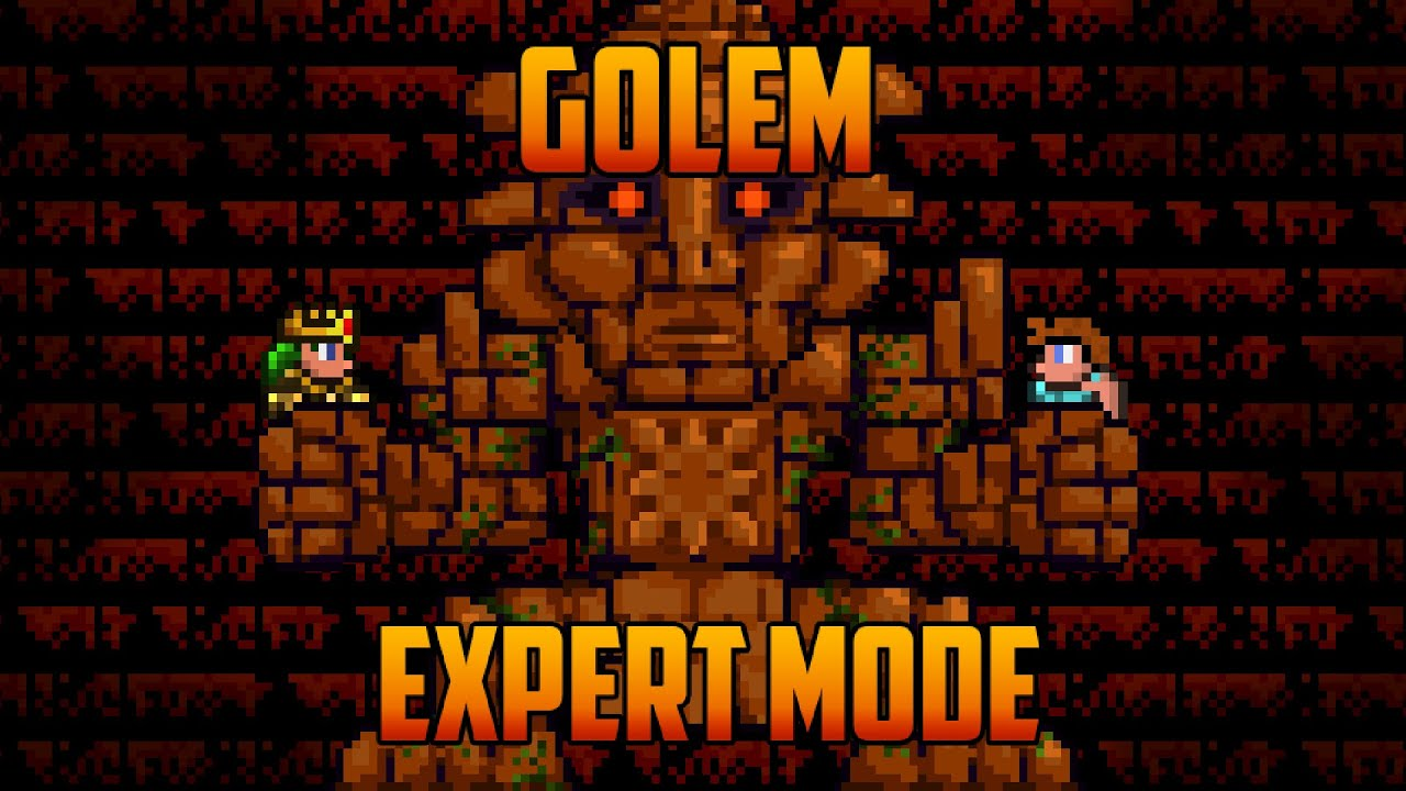 Terraria 1 3 Golem Expert Mode Boss Battle Youtube