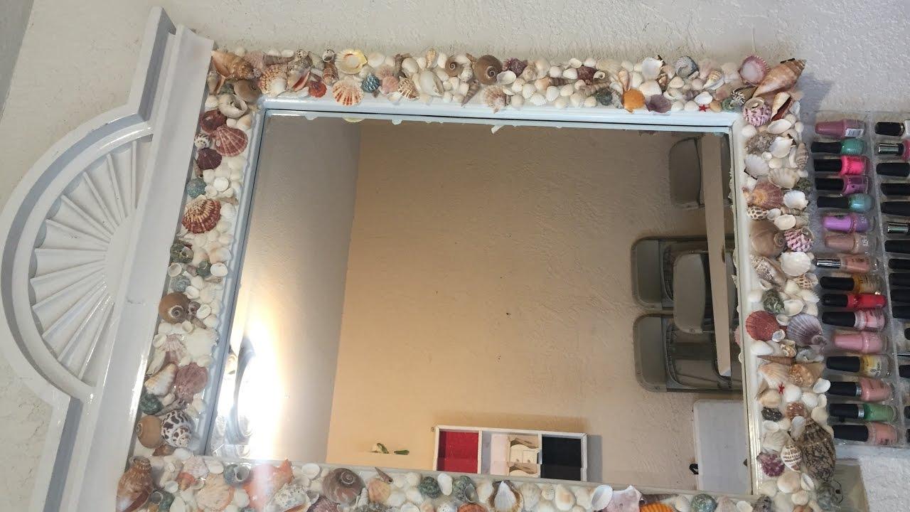 Espejo decorado con conchas de mar youtube - Lamparas para espejos de bano ...