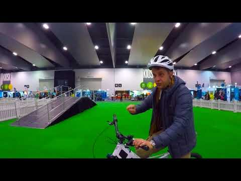 i ride an ebike at the Melbourne Technology expo