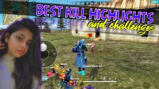Free Fire Best kills Highlights || Challenges by Indian Girl Gamer🔥🔥