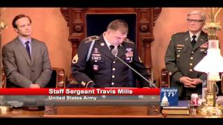 United States Army Staff Sergeant Travis Mills; Guest of Senator Mike Green.