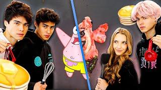 PANCAKE ART CHALLENGE SpongeBob Edition  Alan Stokes &amp Andrew Davila vs Lexi Rivera &amp Alex Stokes