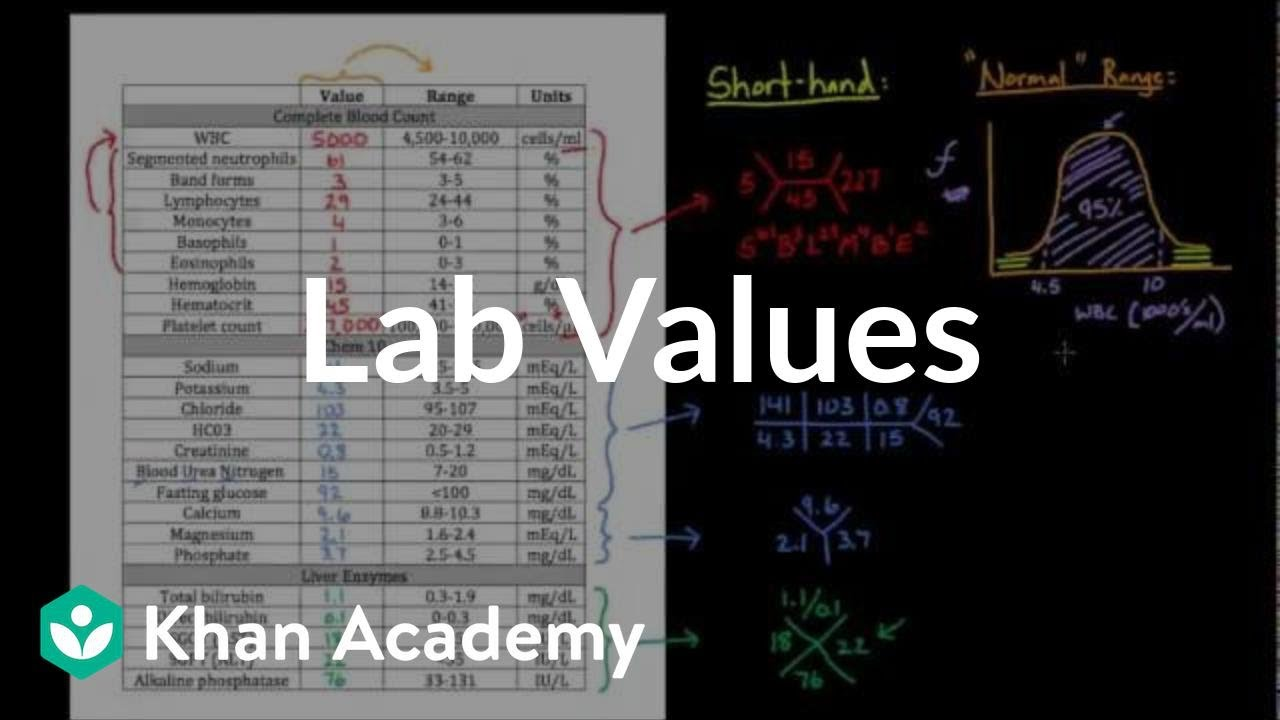 Introduction to lab values and normal ranges (video) | Khan