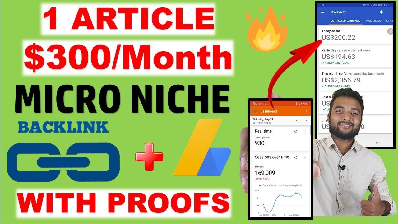 Earn $300/Month From MICRO NICHE BLOG IDEA Using ADSENSE & CREATE BACKLINKS image