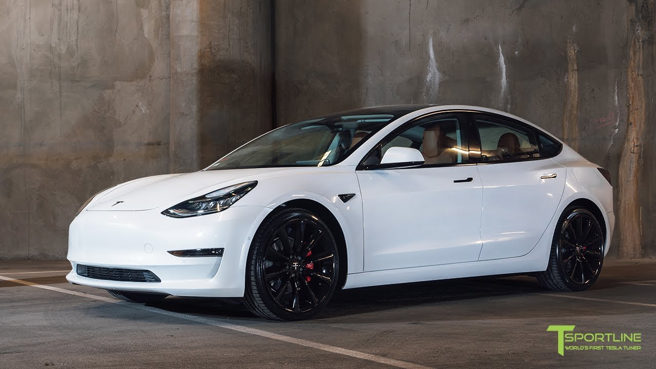 Pearl White Tesla Model 3 Customized With A Special Interior Color And 20 Staggered Tst Wheels