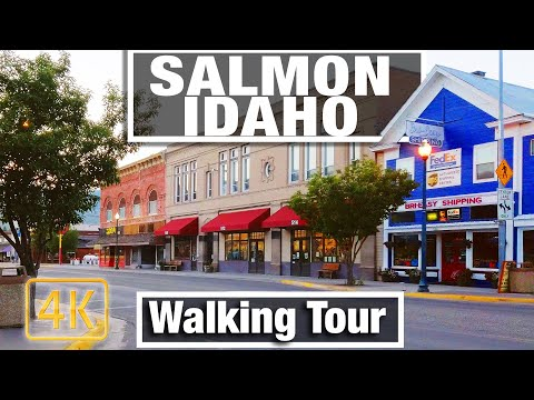 4K City Walks Salmon, Idaho Small Town Virtual Walking Trails for Treadmill Scenery