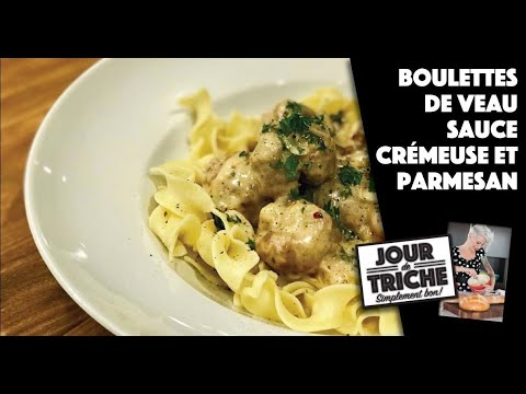 boulettes-de-veau,-sauce-crémeuse-et-parmesan