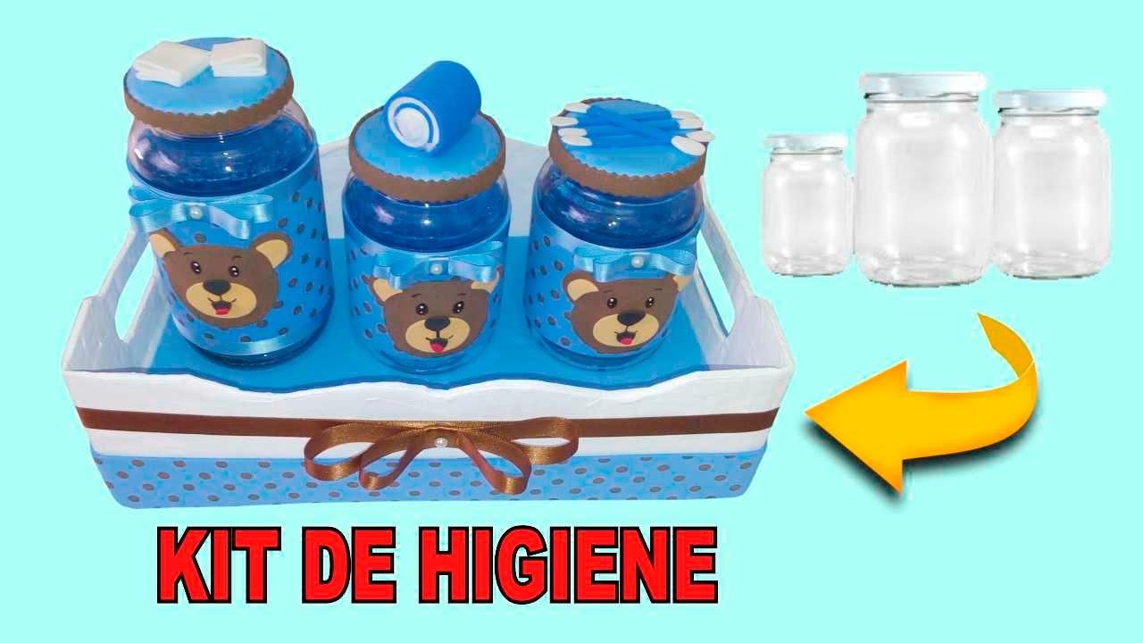 Decoraç u00e3o com potes de vidro ( kit de higiene para beb u00eas) YouTube # Como Decorar Kit Higiene Bebe Com Tecido