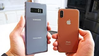 Samsung Galaxy Note 8 vs iPhone X! Battle Of The Bezels