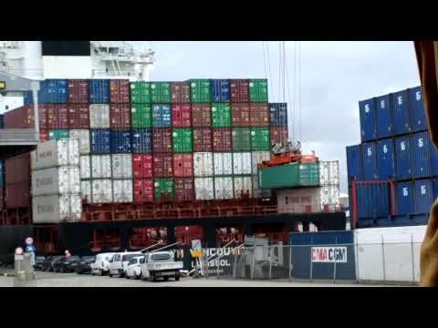 Rotterdam Port - ECT: Cranes loading a Ship / Automated Container Carriers