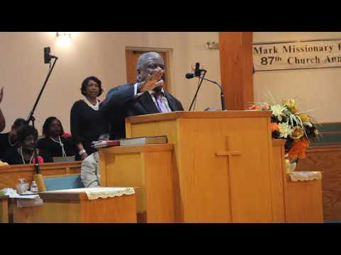 Rev. Wayne Thompson at St. Mark MBC Mortgage Burning Ceremony