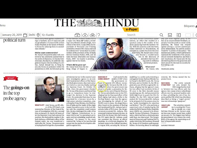 20 January 2019 Current Affairs The Hindu  Important Headlines  by Mrs Bilquees Khatri