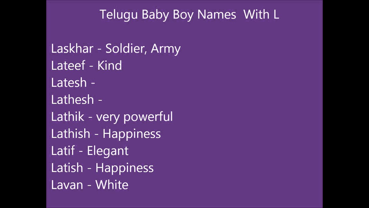Telugu Baby Boy Names With L