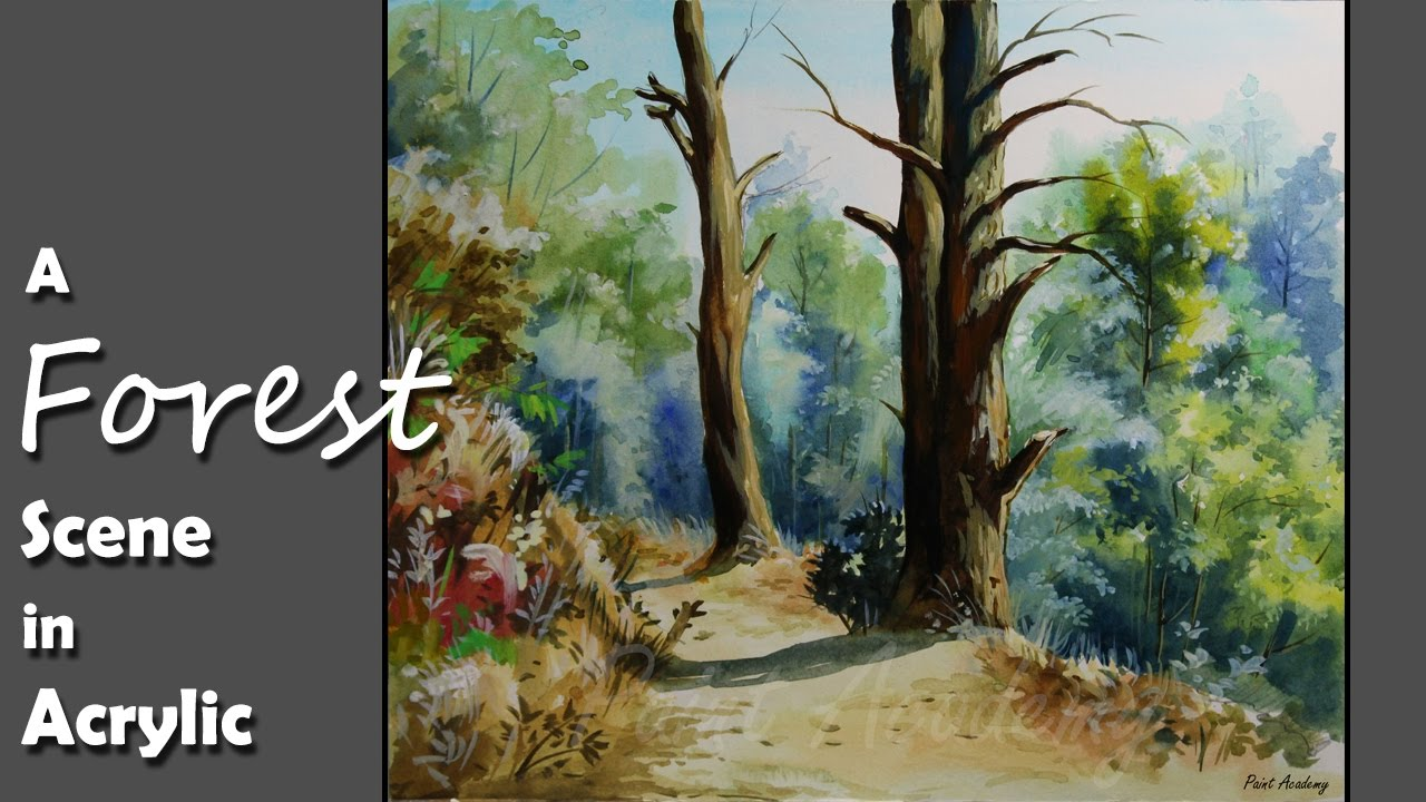 Acrylic painting a forest scene in acrylic step by for Painting a forest in acrylics