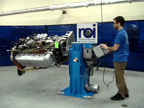 ROI Machinery & Automation:  Rotating Engine Stand w/ powered vertical travel
