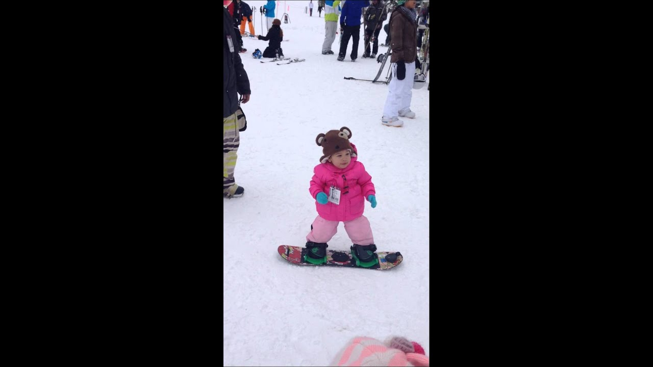 one year old baby girl snowboarding youtube