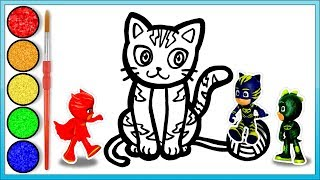 PJ Masks toys playing Catboy cat drawing and coloring videos for kids