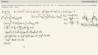 Matura rozszerzona - zadanie 12 - równanie kwadratowe z parametrem