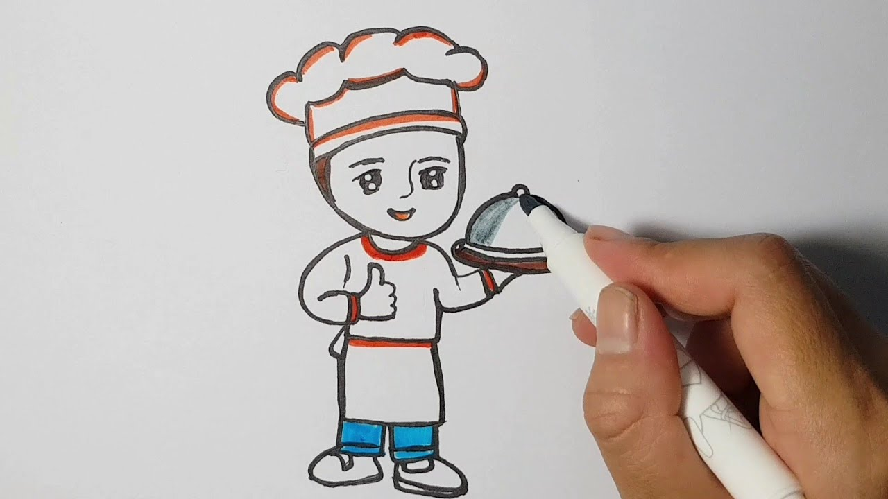 Bé tập vẽ / vẽ đầu bếp / ước mơ của em