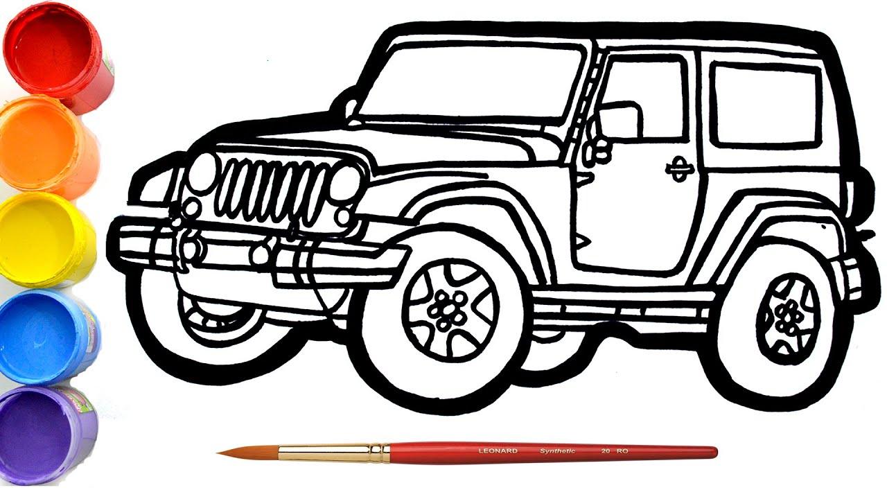 Cara Menggambar Dan Mewarnai Mainan Jeep Wrangler Mainan Mewarnai Youtube