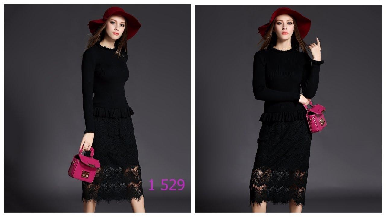 Одежда с AliExpress - Черное трикотажное платье с длинным рукавом .