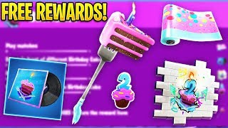 *NEW* All Fortnite Birthday *FREE REWARDS* And CHALLENGES.! (Birthday Rewards)