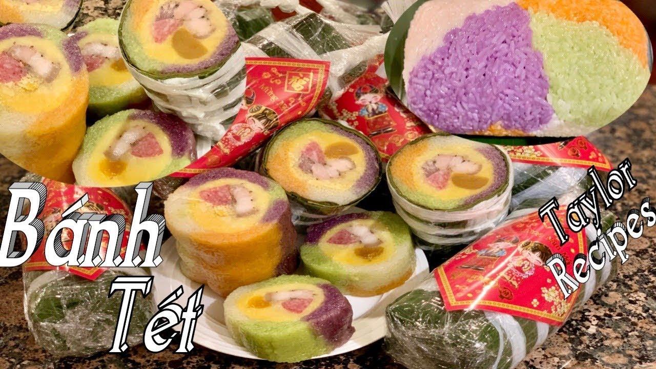 Bánh tét ngũ sắc nấu nhanh bằng nối áp suất  thơm ngon mềm dẻo- Multicolor sticky rice cake
