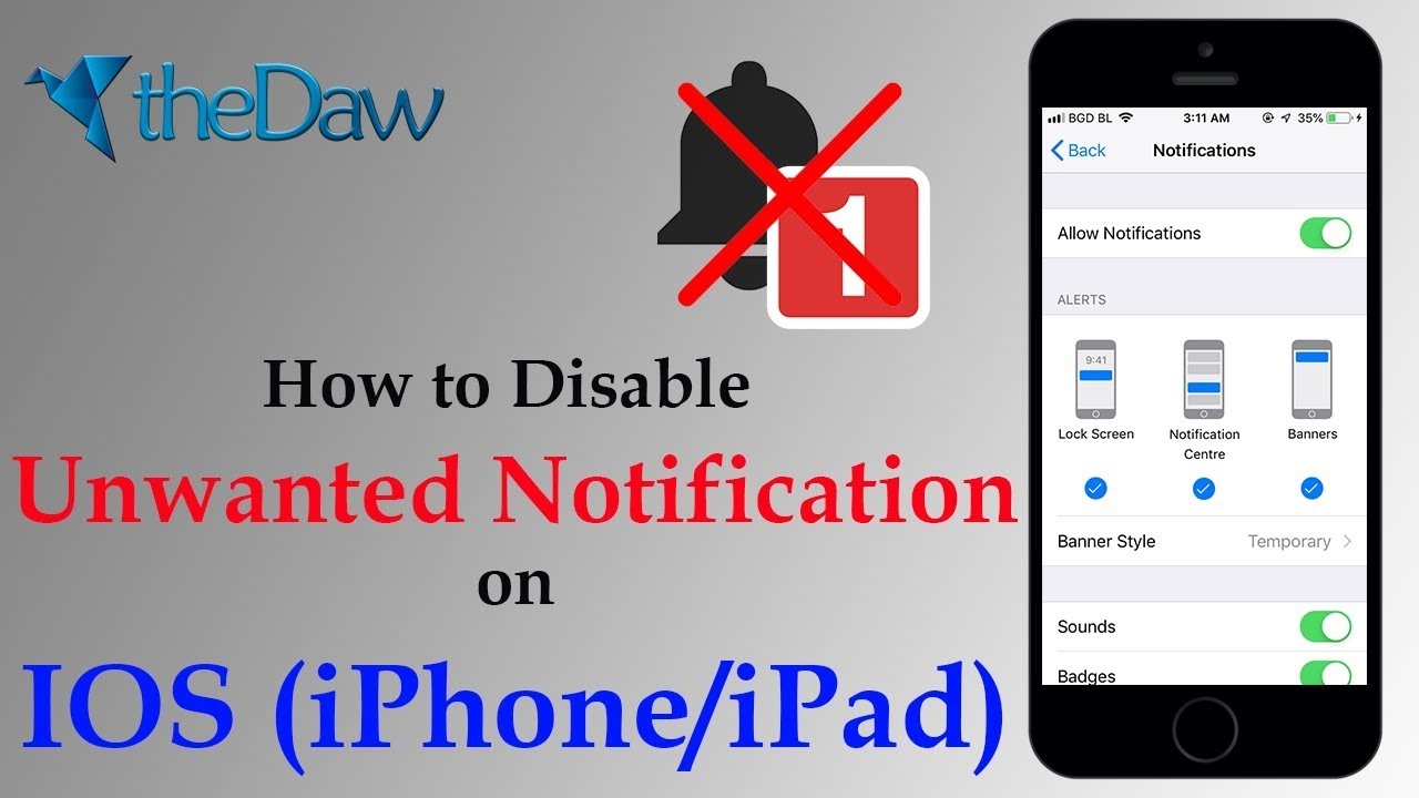 How to Disable Unwanted Notification on IOS (iPhone/iPad) | iPhone Tips | theDaw