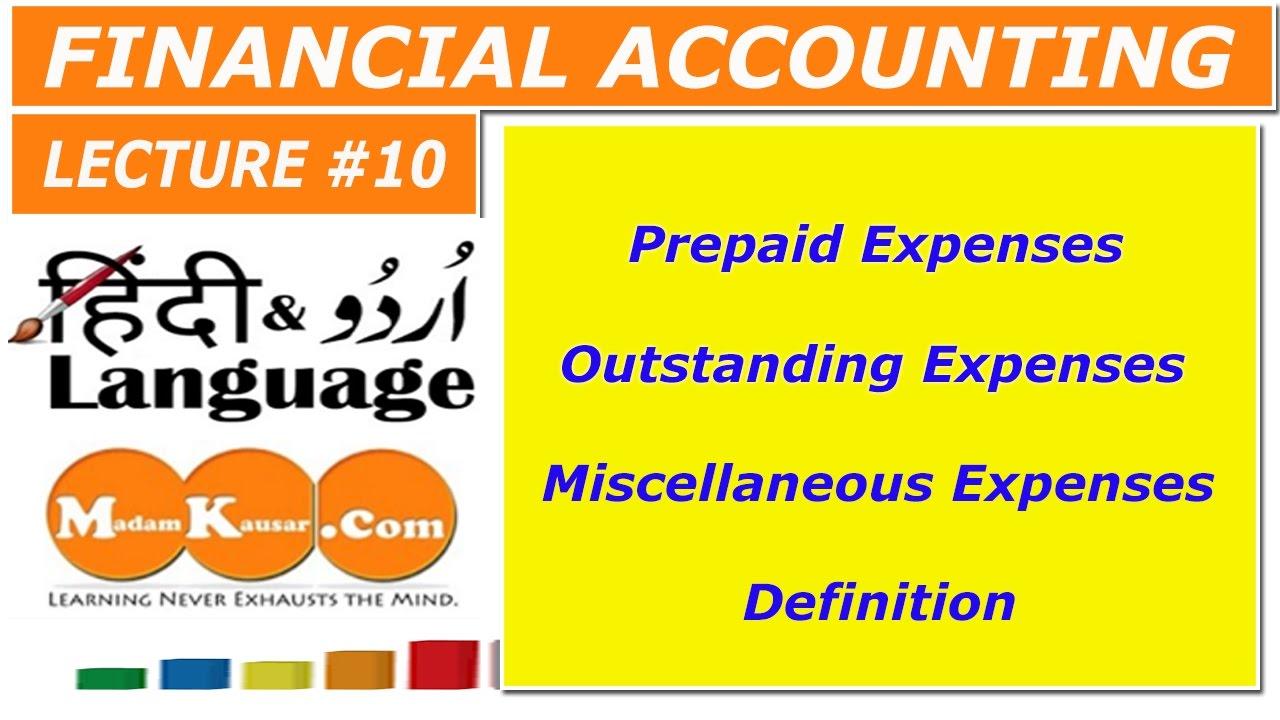 High Quality Prepaid,outstandingu0026Miscellaneous Expense Definition In Urdu/Hindi