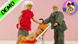 BABY IN THE STROLLER with Grandma + Grandpa | Funny Swedish Doll House Figures