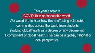 RSTMH Student Essay Prize 2020: COVID-19 in an inequitable world