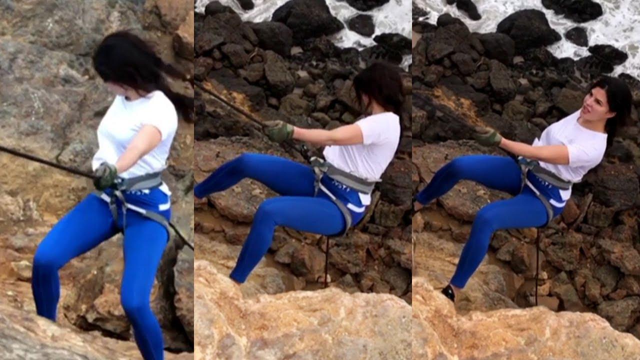 Bollywood Actress Jacqueline Fernandez Rock Climbing Scene Practice Mrs Serial Killer movie making