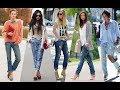 Ripped boyfriend jeans street style